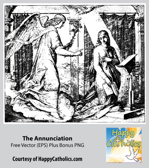 The Annunciation - A Free Christmas Vector and PNG from Happy Catholics