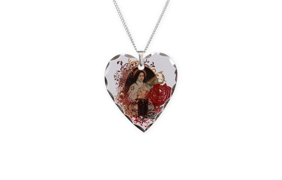 Saint Therese heart necklace